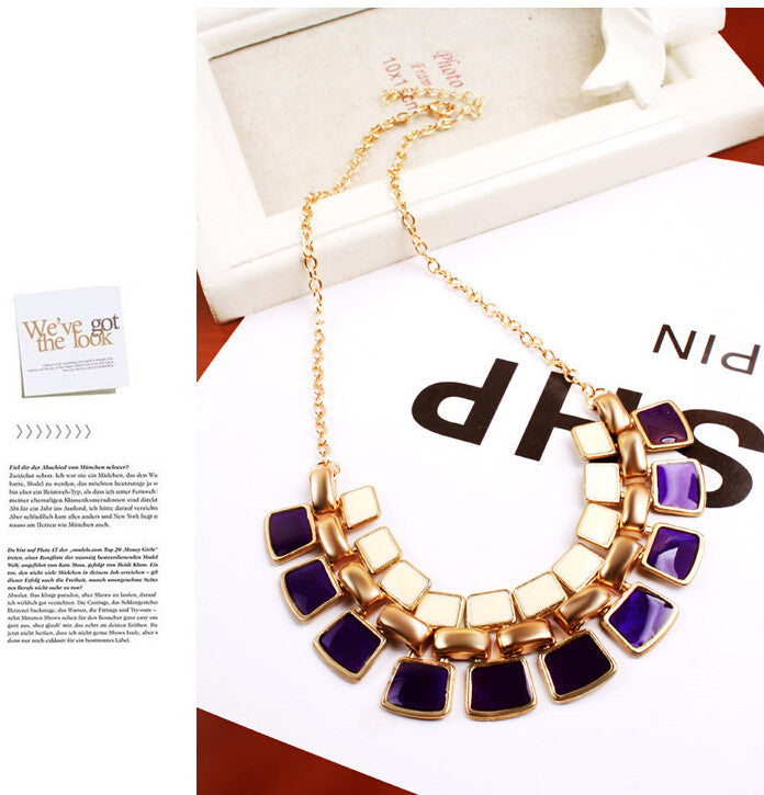 Trendy Necklaces Pendants Link Chain Collar Long Plated Enamel Statement Bling & Fashion Necklace Women Jewelry