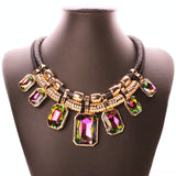 Trendy Necklaces Pendants Link Chain Double Layers Big Crystal Choker Necklace