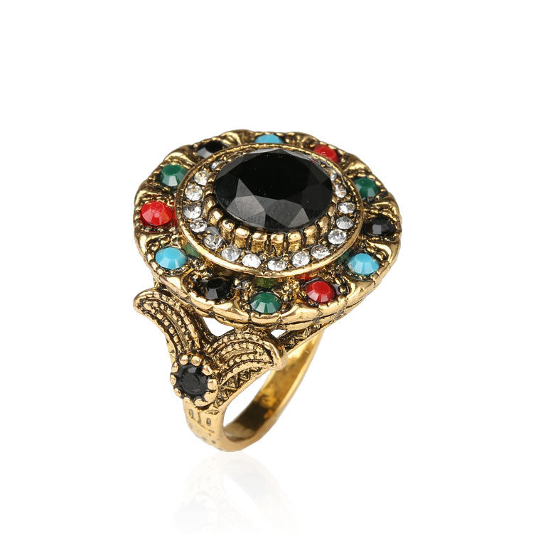 Turkish Jewelry Gold Plated Ring Fashion Bohemian Tibetan Silver Alloy Colorful Resin And Crystal Round Rings For Women