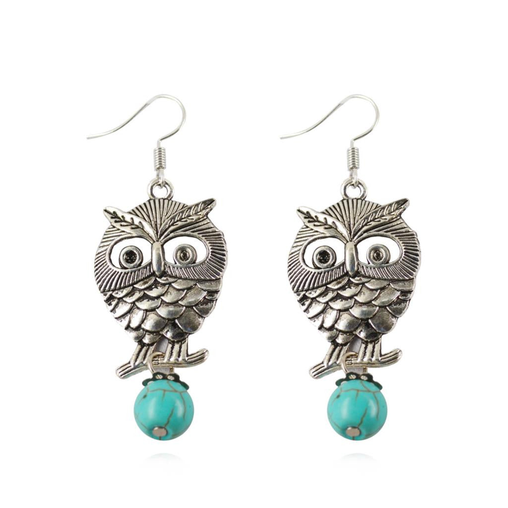 Turquoise Owl Women's Dangle Earrings Pendientes Ancient Earrings for Woman Gift Brincos Fine Jewelry Summer Style
