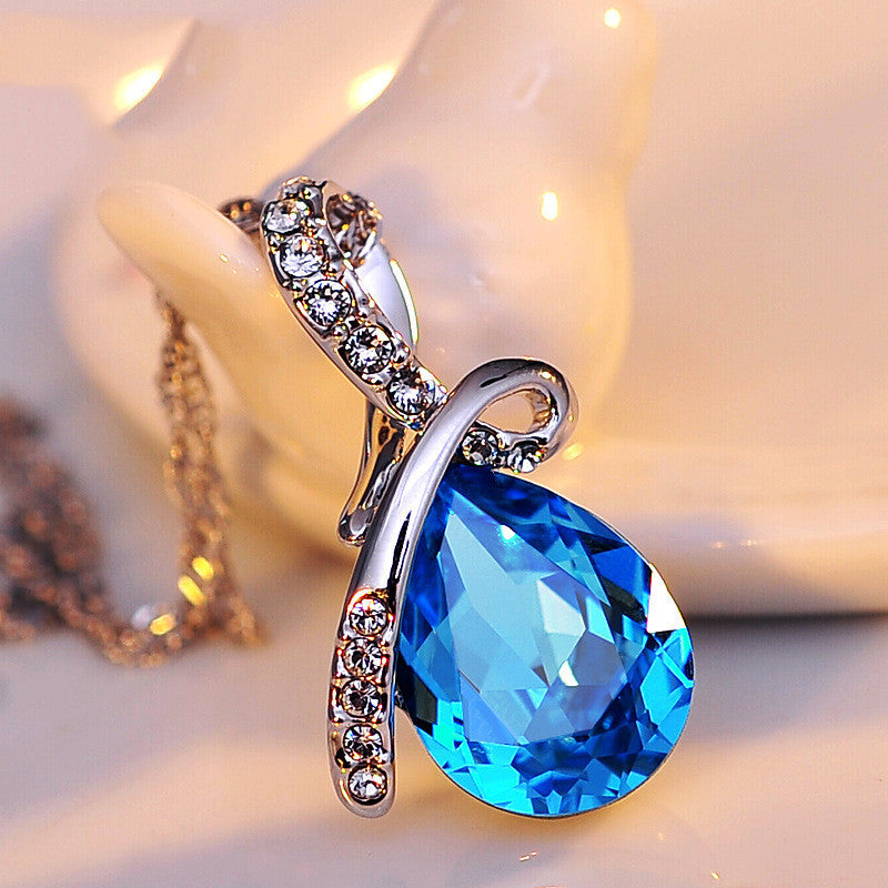 Turquoise Crystal Necklaces Pendants 18K Gold Or Silver Plated Jewellery & Jewerly Necklace Women Fashion Jewelry
