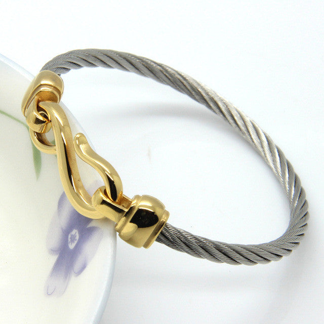 Two-Color Titanium Steel Bracelet Hooks Fashion Jewelry Infinity Love Charm Bracelets & Bangles For Women
