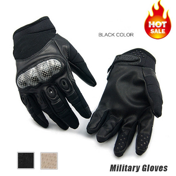 New Military Gloves New Outdoor Sports Army Full Finger Motorcycle Cycling Carbon Leather Gloves
