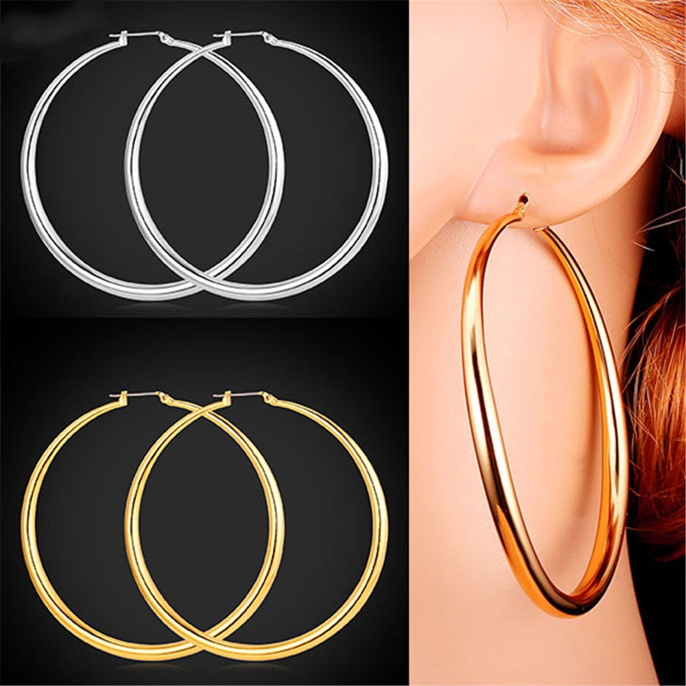 Big Basketball Wives Earrings Trendy Gold Plated Fashion Jewelry Round Large 3 Size Hoop Earrings Women