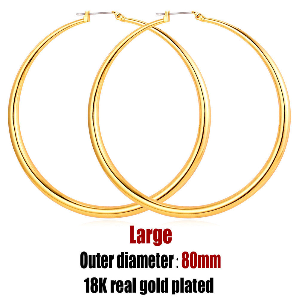Big Basketball Wives Earrings Trendy Gold Plated Fashion Jewelry Wholesale Round Large 3 Size Hoop Earrings Women