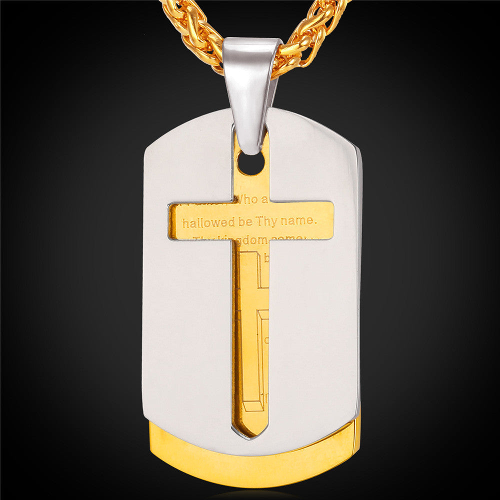 Cross Necklace Men Bible Lords Prayer Gold Plated Stainless Steel Double Dog Tags Pendant For Men Christian Jewelry