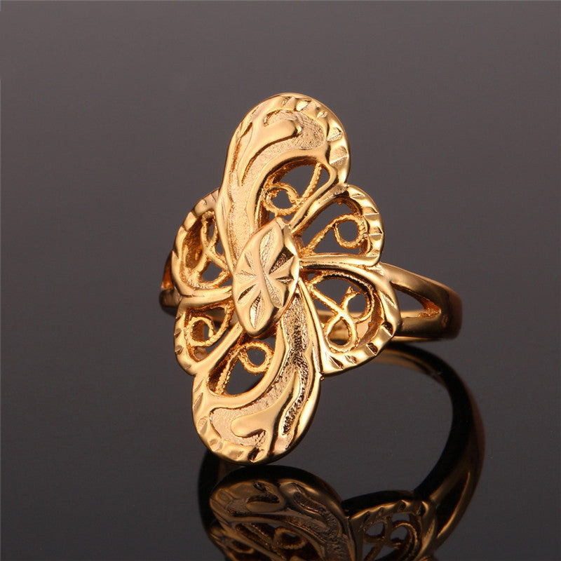 Vintage Engagement Ring Gold Plated Fashion Jewelry Trendy Geometric Band Ring For Women