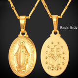 Virgin Mary Necklace New Trendy Yellow Gold Plated Women/Men Jewelry Wholesale Colar Cross Pendant Necklaces