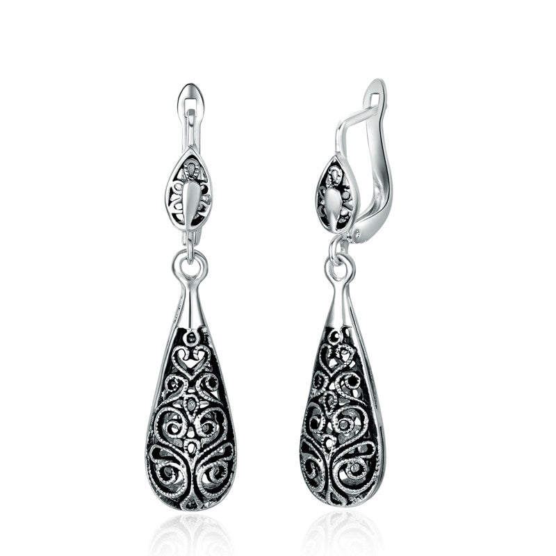 New Antique Silver Plated Vintage Alloy Carven Pattern Clasp Dangle Earrings