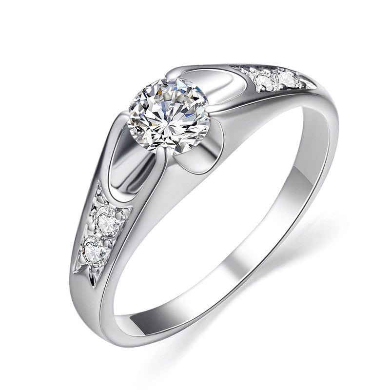 Fashion White Gold Plated Mounting 0.5 ct CZ simulated Diamond Wedding Jewelry Rings