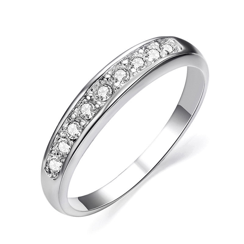 Fashion White Gold Plated TOP Class 9 pcs Rhinestones Eternity Band Wedding Ring bague femme Jewelry