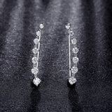 Four Prong Setting CZ Crystal White / Rose Gold Plated Dipper Hook Stud Earrings Jewelry for Women Boucle D'oreille