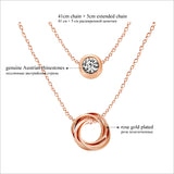 Multi Layer Genuine Austrian Rhinestones Rose Gold Plated Pendant Crystal Necklace Jewelry for Women