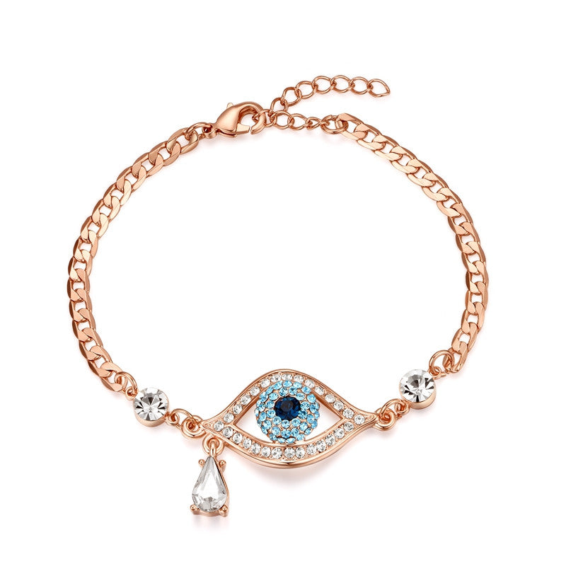 New Arrival Evil Eye Three Colors Austrian Rhinestnes Bracelets For Women Rose Gold Plated Pulseira Jewelry Bijoux
