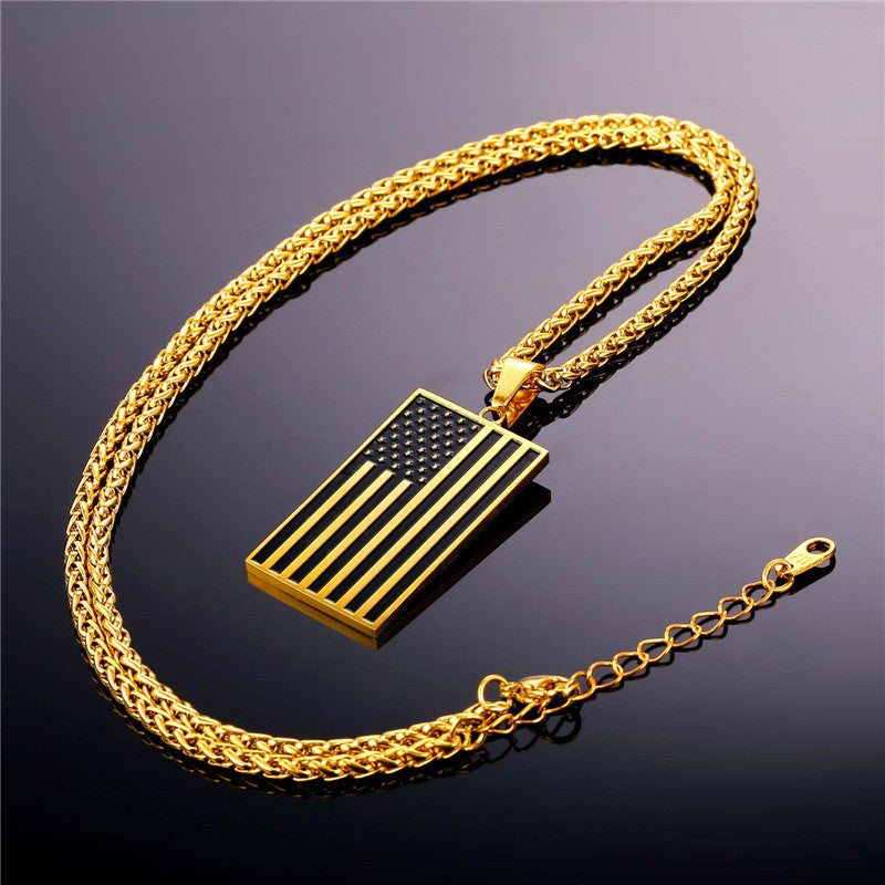 US National Flag Pendant Necklace American Fashion Jewelry Stainless Steel/Gold Plated Patriot Necklace For Men Chain