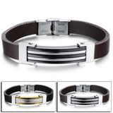 Unique Design Bracelet Mix Color Gold Plated Stainless Steel Leather Bracelets For Men Mens Jewelry Accessories Wristband