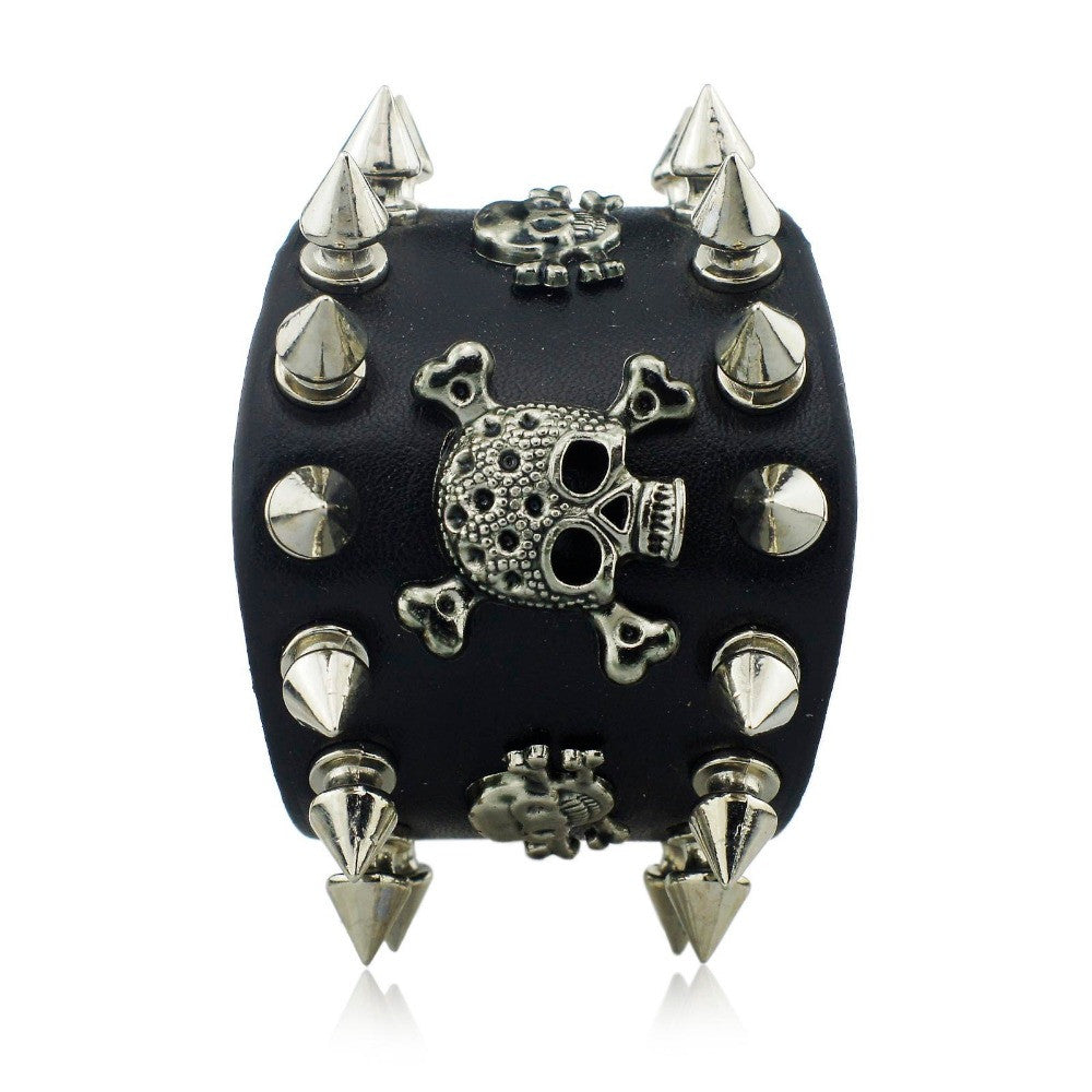 New Unique Rock Spikes Rivet Gothic Skeleton Skull Punk Biker Wide Cuff Leather Bracelet