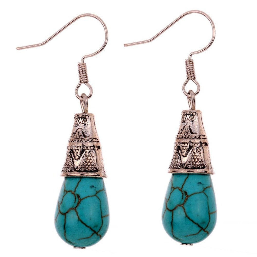 Unique Vintage Pattern Design summer style Tibetan Silver Teardrop Turquoise Fine and Fashion Jewelry Earrings For Women
