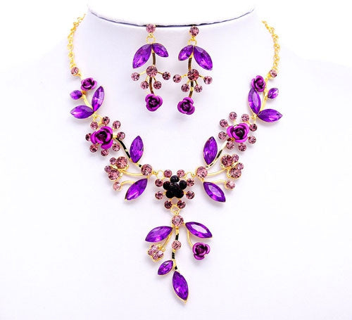 Unique design Women / girl 18k Gold Plated Jewelry Sets Crystal flowers shape Chain pendant Necklace Earrings Jewelry Sets