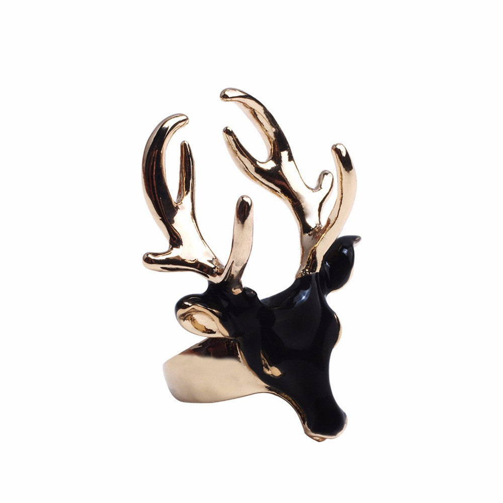 Unique Design Fashion Enamel Cuff Statement Rings for Women & Men Black & White Deer Head Copper Gold Plated Jewelry