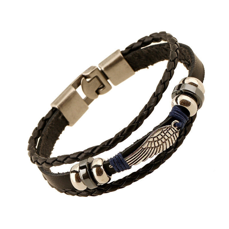 Unisex Fashion Europe retro punk Charm bracelet, Handmade leather bracelets & Bangles with wings Jewelry