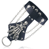Unisex Cool Punk Rock Gothic Skeleton Skull Hand Glove Chain Link Wristband Bangle Leather Bracelet
