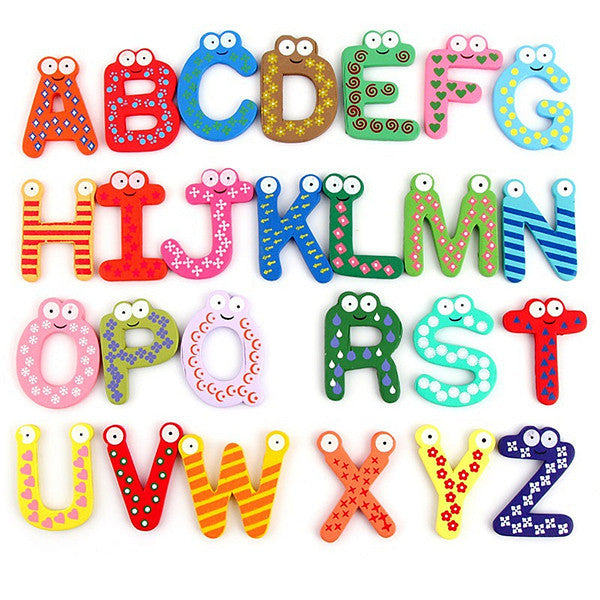 Unisex Kids Educational Toy Wood Letters Alphabet Learning Fridge Magnet 26 pcs