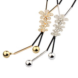 Cute Three Rhinestone Flowers Long Chain Necklaces Female Handmade Maxi Lovely Bohemian Fashion Jewelry Bijoux New Gift