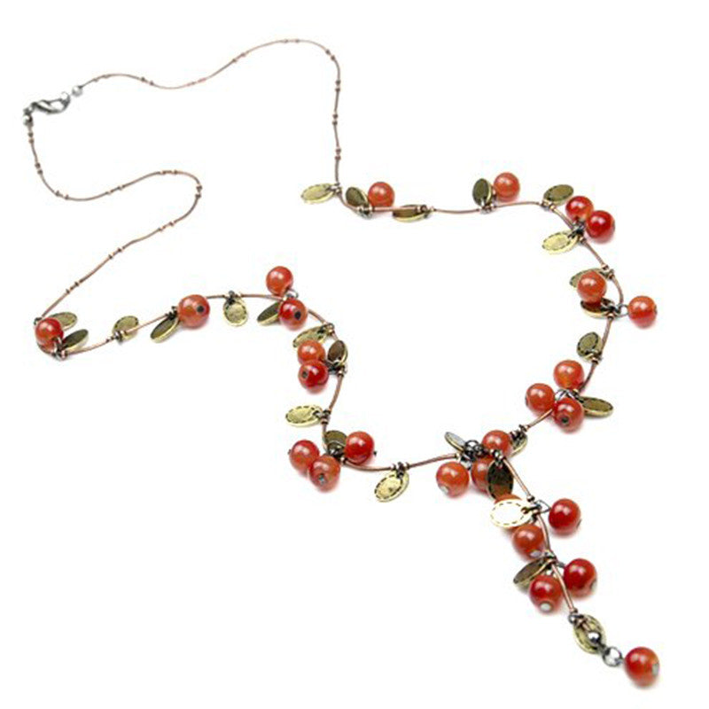 Very beautiful vintage sweet cherry Long necklace fashion sweater chain