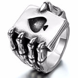 Vintage Black Stainless Steel Men Rings Gothic Punk Skull Hand Claw Poker Playing Card Design anel masculino Men Jewelry Engrave
