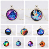 Vintage Galaxy Necklace&Pendant Glass Cabochon Statement Chain Necklace for Women Vintage Sterling Silver Jewelry Fine Jewelry