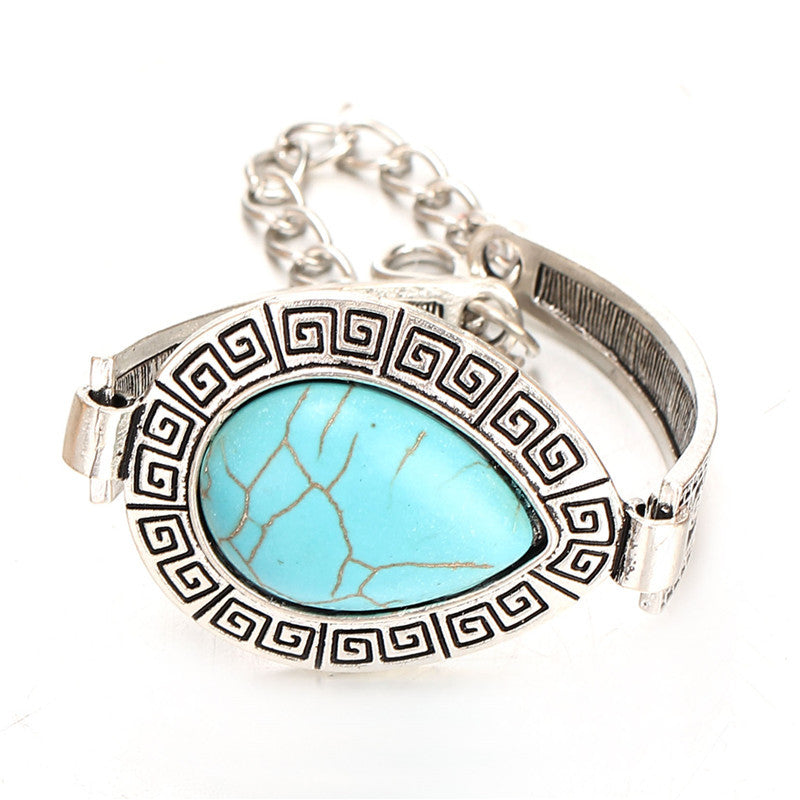 Vintage Jewelry Turquoise Water Drop Charm Bangle & Bracelet for Christmas Gift