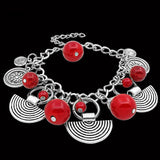 Vintage Look Tibetan Alloy Antique Silver Plated Assorted Pendant Red Turquoise Bracelet