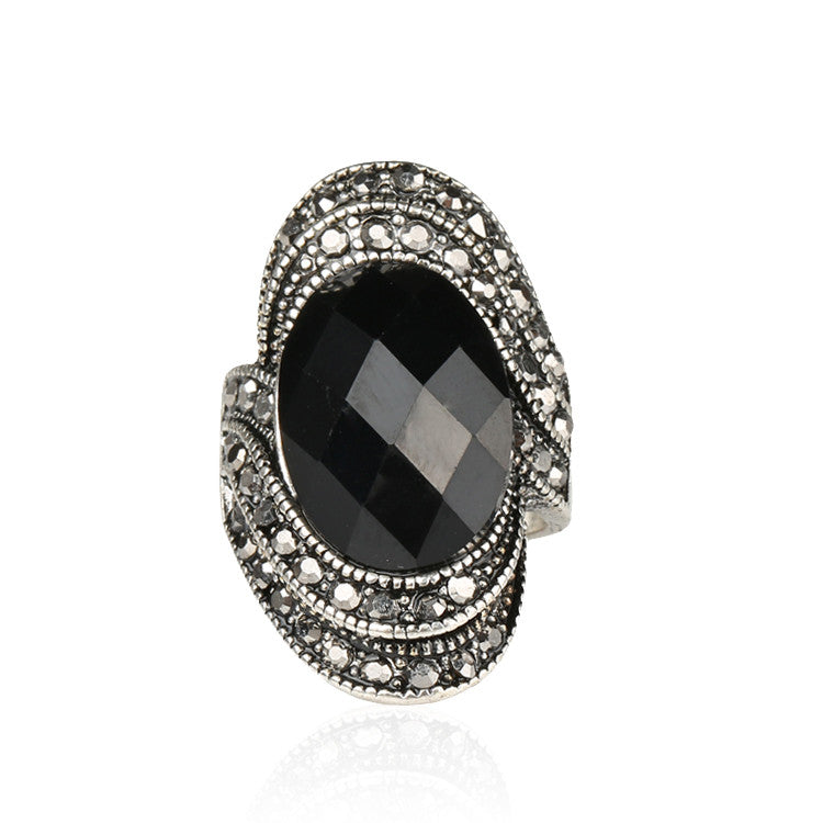 Vintage Retro Craft Bohemia Rings For Women rings Punk Rock Gray Crystal Black Oval Opal 925 Silver Wedding Rings