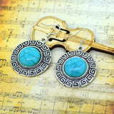 Vintage Silver Color Jewelry Turquoise Round Earrings Fashion Summer Style Fine Jewelry for Women