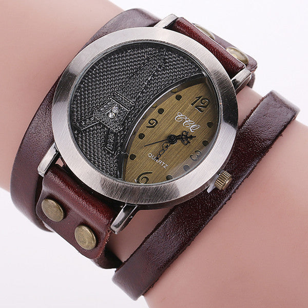 New Vintage Tower Watch Genuine Leather Bracelet Watches Women WristWatch Quartz Watch