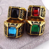 Vintage Antique Gold/Silver Plated Crystal Ring For Men Stainless Steel Big Square Stone Finger Ring Male Men Jewelry