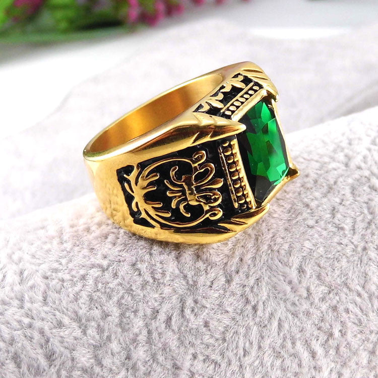 Vintage Antique Gold/Silver Plated Crystal Ring For Men | Buycoolprice