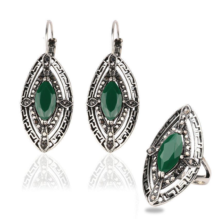 Vintage Bohemia Jewelry Antique Silver Plated Eyes Turquoise Stone Earrings Ring Women Jewelry Set
