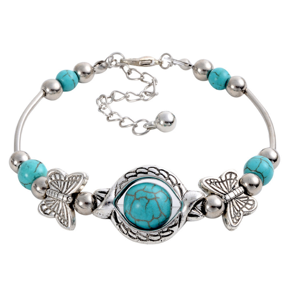 Vintage Charming Crystal Tibetan Silver Butterfly round blue turquoise beads bracelet jewelry for women