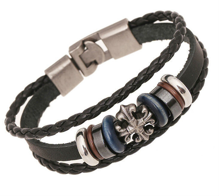 Vintage Cross Charm Leather Bracelet Wristband Jewelry Bijouterie Unisex Girls Woman