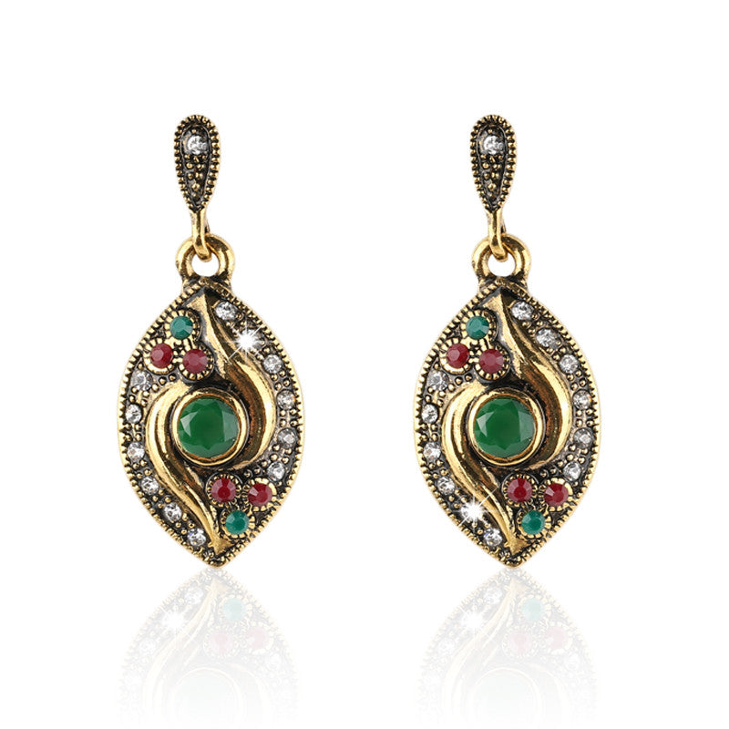 Vintage Earrings For Women 18K Gold Fashion Earrings AAA Resin Long Big Drop Dangle Earring Indian Jewelry