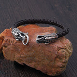 Vintage Fashion Black Leather Bracelet Antique Silver Plated Chinese Dragon Bracelet Men Jewelry Wristbands