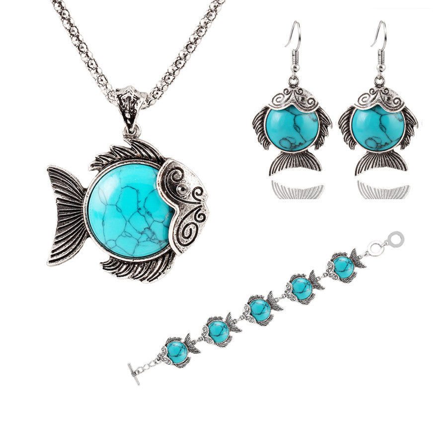 Vintage Fashion Jewelry Antique Silver Plated Lovely Fish Family Necklace Bracelet Earrings Turquoise Jewelry Sets For Women