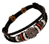 Vintage Iris Flory Charm Leather Adjustable Bracelet Wristband Jewelry Bijouterie Unisex Girls Woman