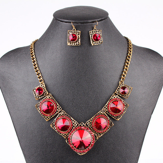 Vintage Jewelry Sets Red&Navy Blue Crystal Fashion Jewelry Set Antique Gold&Silver Plated