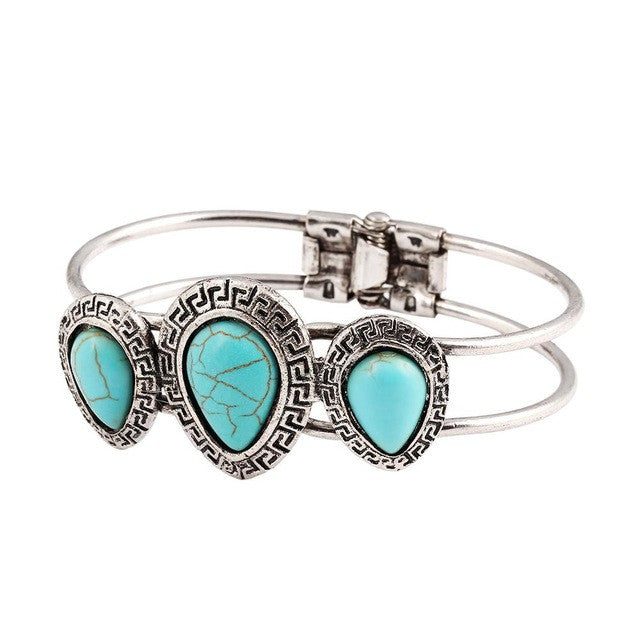 Vintage Jewelry Tear Shape Turquoise Bangle Tibetan Silver Bracelet For Women Water Drop Carved pulsera brazalete Accessory