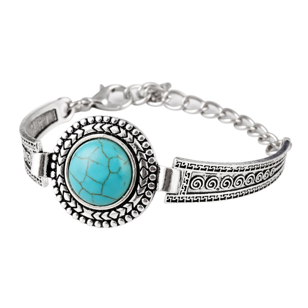 Vintage Jewelry Tibetan Silver Carved Round Turquoise Bangle Gift For Women Bracelet Watch Band pulsera brazalete Accessory