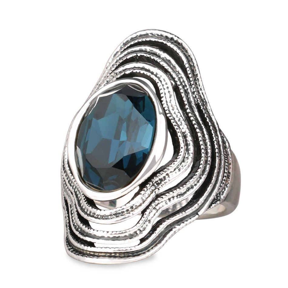 Vintage Luxury Glass Ring Fashion Sapphire Jewelry Plating Ancient Silver Rings For Women New Year Gift