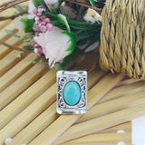 Vintage Retro Silver Color Jewelry Carved Square Metal Oval Turquoise Ring for Women Summer Style